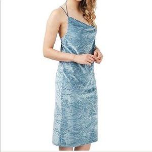 Topshop Crushed Velvet Cowl Neck Dress